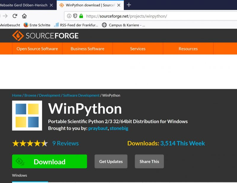 Website of winpython distribution